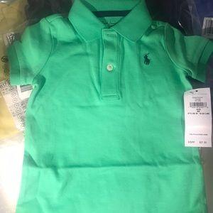 💚Ralph Lauren Polo Baby boy one piece green 9mos